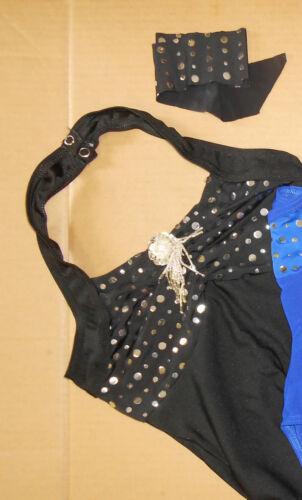 NWT HALTER Costume LEOTARD FOIL DOTS BATON DANCE SILVER SPANGLE  CH//AD 3 colors