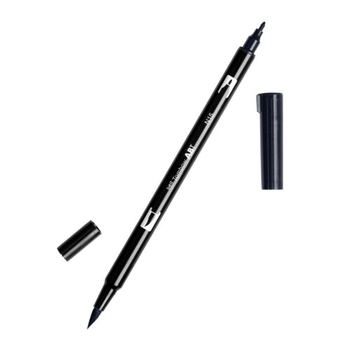 1-Pack Tombow 56621 Dual Brush Pen N15 Black Brush and Fine T... Blendable