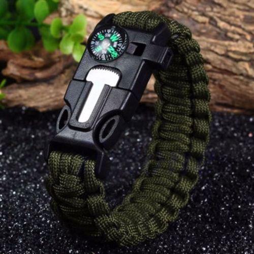 Paracord Survival Bracelet Flint Fire Starter Compass Whistle Wrist Outdoor