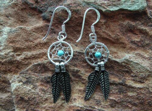 Ohrringe Traumfänger Dreamcatcher 925 Silber 1 Paar Türkis Perle #2