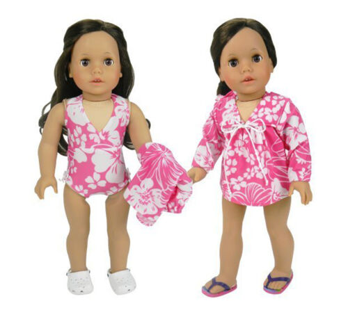 Pink Hawaiian Bathing Suit /& Cover Up 2pc Set Fits 18 inch American Girl Dolls