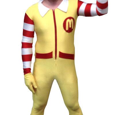 Ronald McDonald Adult Costume Body Suit McDonald's Clown Mens Spandex Cosplay