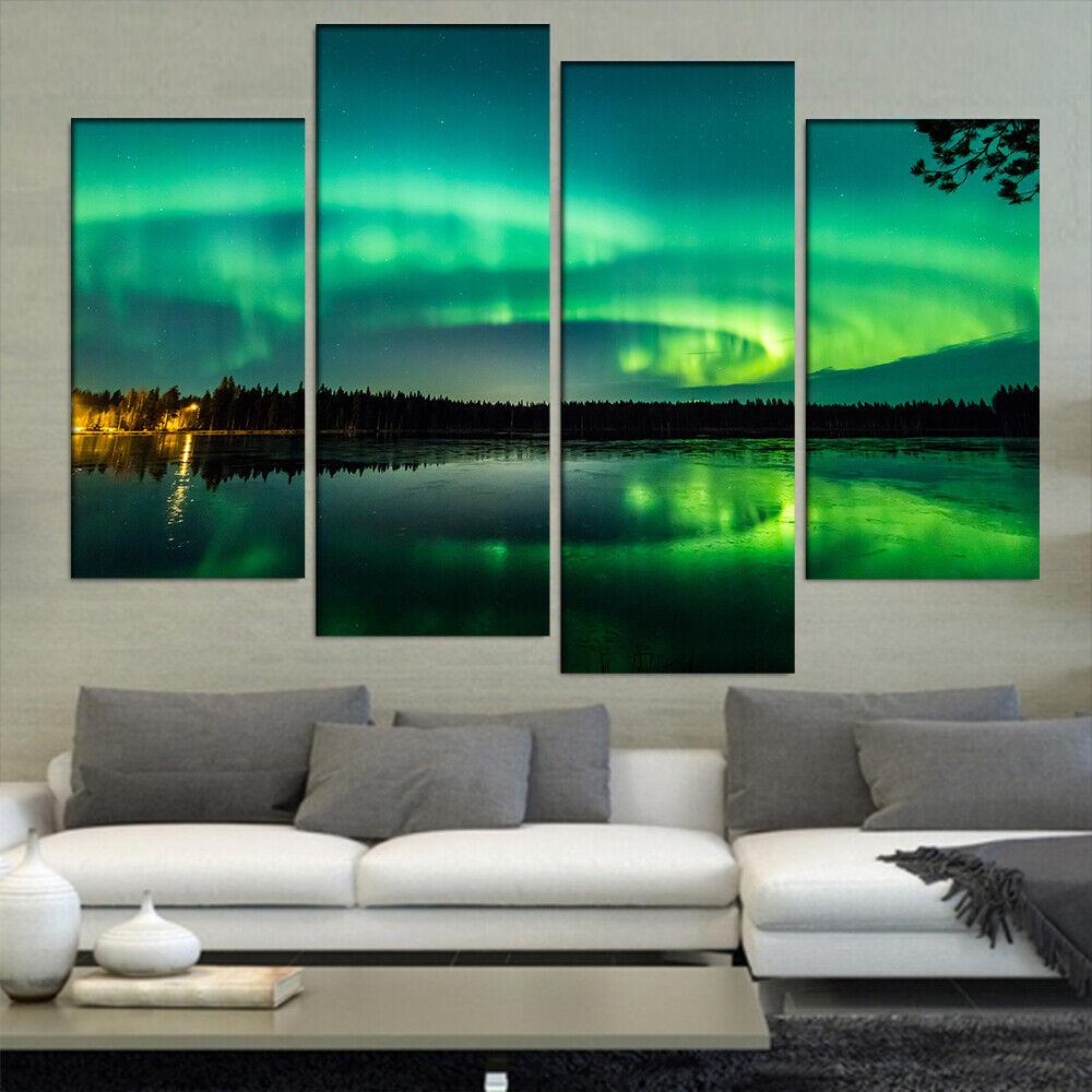 Grün Aurora  Art  Canvas  Painting Prints 4 Piece  Modular