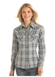 Powder-River-Women-039-s-Blue-amp-Grey-Plaid-Flannel-Snap-Up-Shirt-22S2291