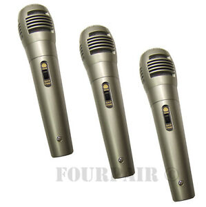 3 Pack Lot, Dynamic Uni-Directional Wired Microphone Mic 10ft Cord DJ PA Karaoke