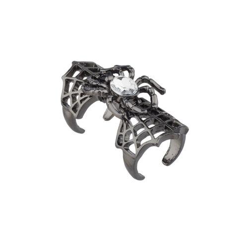 Lux Accessories Gunmetal Spiderweb Crystal Spider Halloween Ring