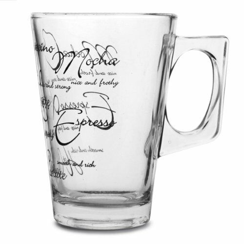 Script Glass Mugs Tea Coffee Latte Hot Chocolate Cappucino Drinks Glasses Cups