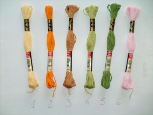 1 Echevette 12 m fil mouliné Art 117 DMC jaune orange marron vert rose au choix