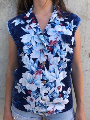 Vintage 1950s Hawaiian Floral Print Shirt Blouse C