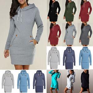 Damen lang kapuzenpullover hoodie pulli kleid kapuze - Sweatshirt kleid lang ...