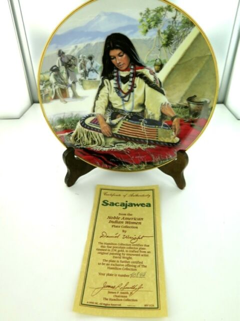 "HAMILTON, NOBLE AMERICAN INDIAN WOMEN  ""SACAJAWEA"" COLLECTORS PLATE, BOX & COA."
