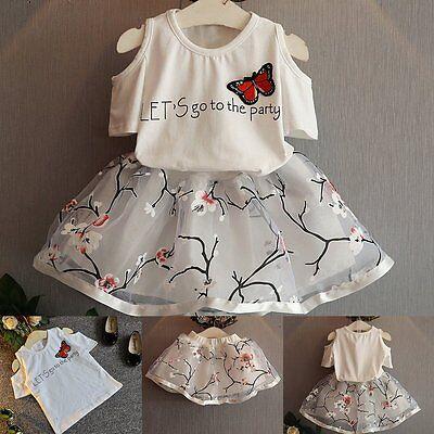 Toddler Kids Baby Girls Outfits Clothes T-shirt Tops+Tutu Skirt Dress 2PCS Set