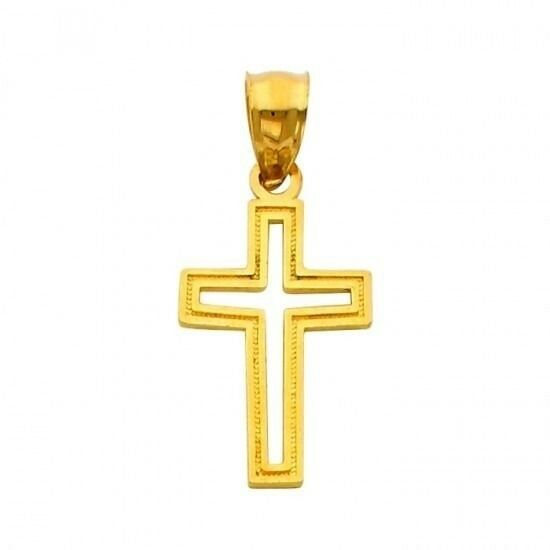 14K Solid Yellow gold Religious Cross Cut-Out Charm Pendant, 18MM