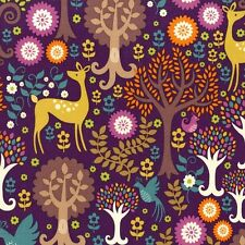 Michael Miller Fantasy Forest Fabric in purple - deer - woodland - By the FQ