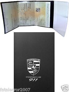 pochette etui porte carte grise porsche 911 4 volets en gomme noire souple ebay. Black Bedroom Furniture Sets. Home Design Ideas