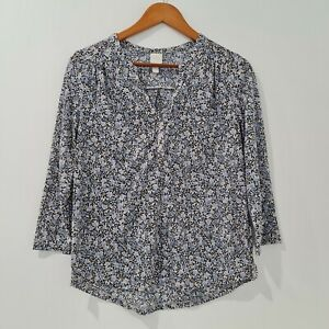 H-amp-M-Women-039-s-Blouse-Size-S-Blue-Pink-Floral-Pattern-Long-Sleeve