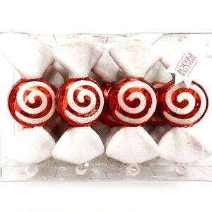 Details About 8 Red White Spiral Peppermint Candy Christmas Ornament Candies Wrapped