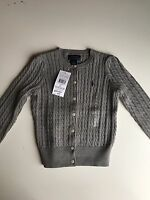 Bnwt Authentic Ralph Lauren Girls Cable Knitted Cardigan 2T ,3T, 4T, 5,6 Rrp £70