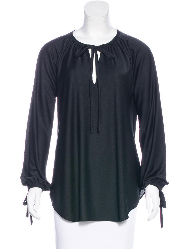 HALSTON schwarz Long Sleeve Scoop Neck Top Blouse Ties at Neck Wrist Sz L Large