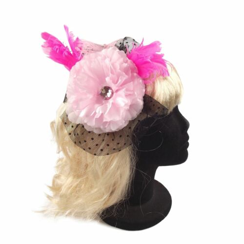 Burlesque Ostrich Feather and Diamond Fascinator Head Piece Fancy Dress Wedding