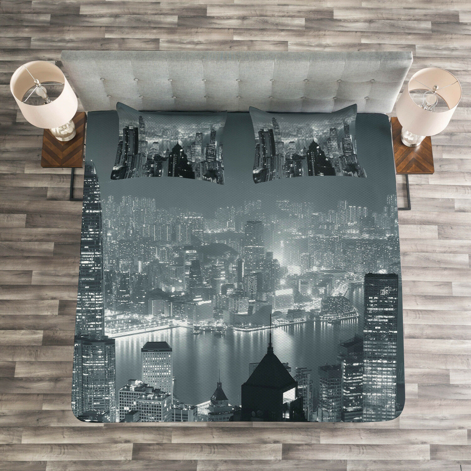 City Quilted Bedspread & Pillow Shams Set, Aerial Night Landscape Print