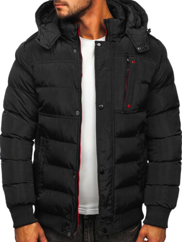 Winterjacke Jacke Steppjacke Sportjacke Classic Kapuze Zip Herren BOLF Unifarben