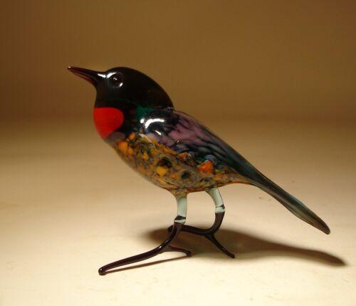"""Blown Glass /""""Murano/"""" Art Figurine Black and Dark Red Bird"""