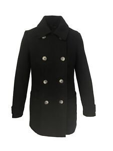 Next-Christy-Pea-Coat-Navy-and-Black-Double-Breasted-Wool-Jacket-Size-8-18-Z3