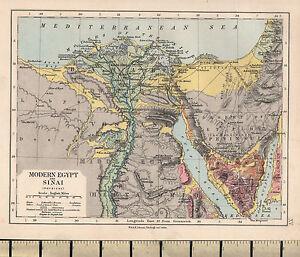 C1890 Victorian Map Modern Egypt Sinai Physical Bahari Sinai