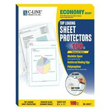 C Line Top Loading Economy Weight Poly Sheet Protectors Reduced Glare 85 X 11
