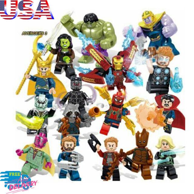 Marvel Super Heroes Lego Avengers Mini Figures Iron Man Hulk Thanos Thor Set 16
