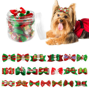 20-100pcs-Christmas-Dog-Hair-Bows-Pet-Cat-Puppy-Grooming-Accessories-Xmas-Gifts
