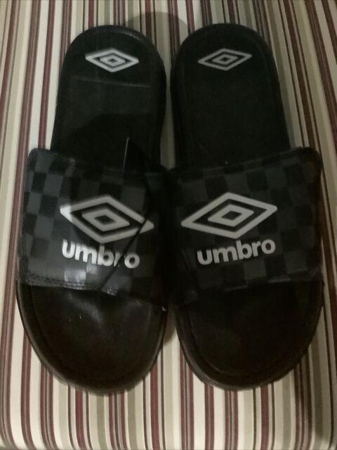 Boys Umbro Heritage White Logo Athletic Slides Size 6 Large Black