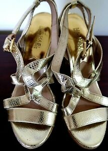 Michael Kors Womens Wedge Platform Sandals Gold Open Toe Size 8