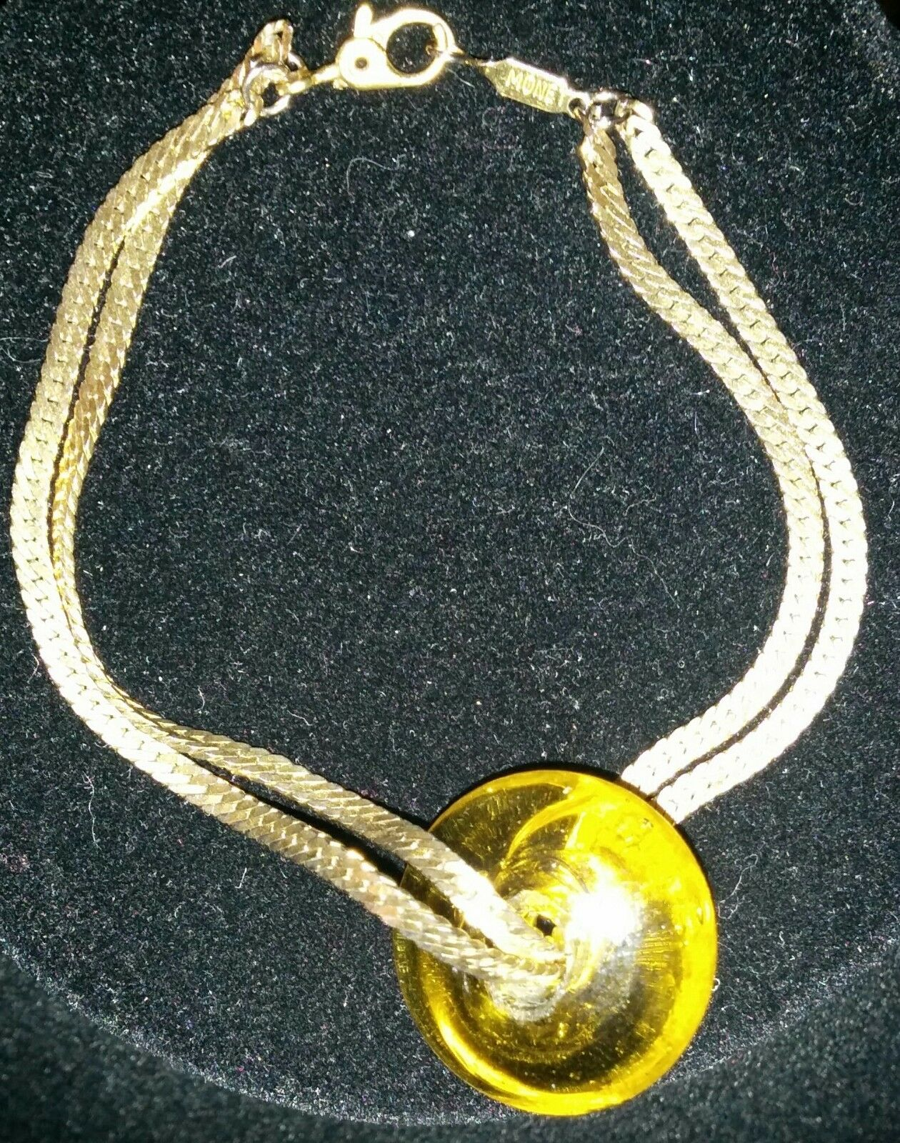 Vintage Signed MONET Double Chain Bracelet with Yellow Glass Bead Charm
