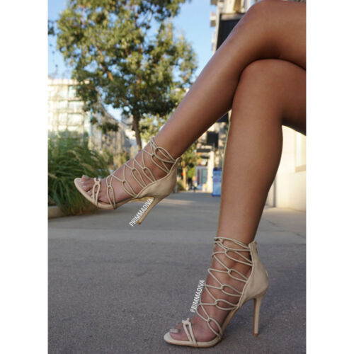 NUDE STRAPPY LACE UP HIGH HEELS STILETTOS FASHION CUT OUT OPEN TOE PUMPS ANKLE