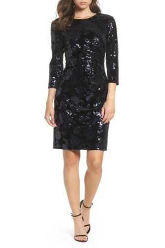 Eliza J NWT Stunning BLACK//NAVY Velvet Sequin Embellished Sheath Dress,6 8 10 12