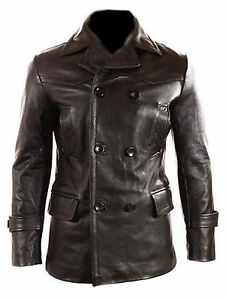 German-Submariner-WW2-Vintage-Men-039-s-Cowhide-Black-Leather-Jacket-Coat