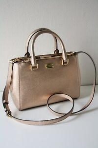 MICHAEL-KORS-LEDERTASCHE-BAG-KELLEN-XS-Satchel-rose-gold