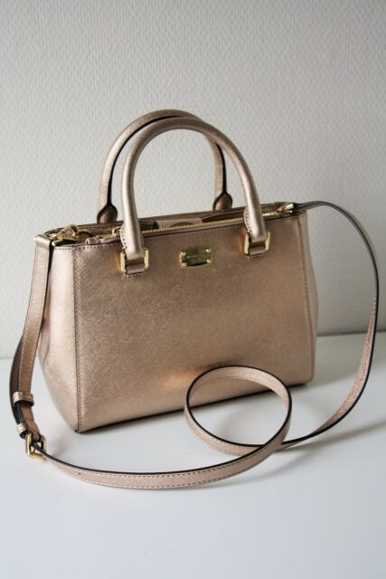 84531af4d938f Michael Kors Leather RARE Rose Gold Handbag Cross Body for sale ...