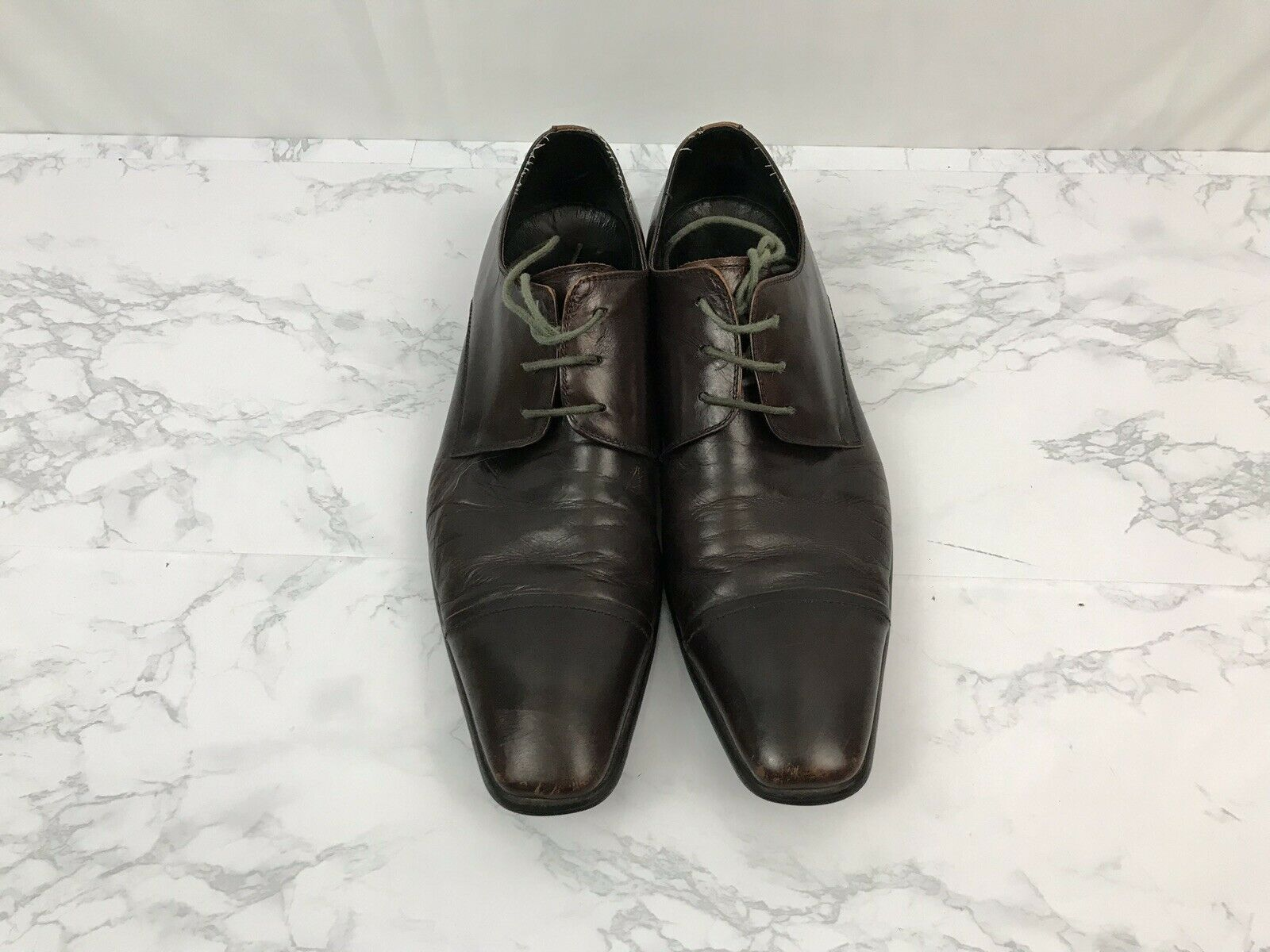 Kenneth Cole Regal King Leather Dress Shoes Mens 12 Oxfords Red Brown P