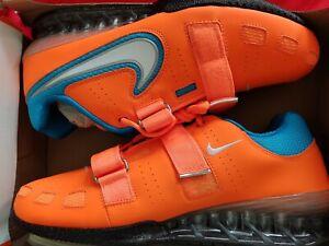 Nike romaleos 2 Taille 12 Hommes Orange Bleu Haltérophilie Dynamophilie Crossfit NEUF