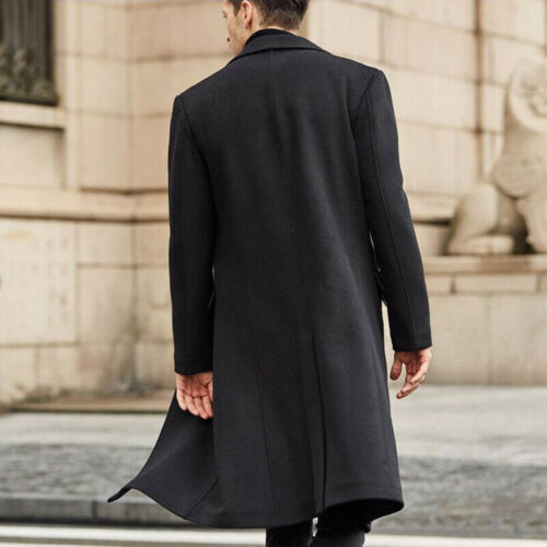 Mens Woolen Trench Coat Winter Warm Long Jacket Overcoat Fomal Casual Outwear