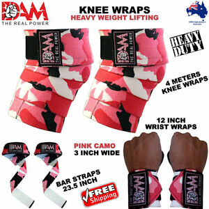 WEIGHT-LIFTING-HEAVY-DUTY-KNEE-WRAPS-POWERLIFTING-BODYBUILDING-GYM-SUPPORT-STRAP