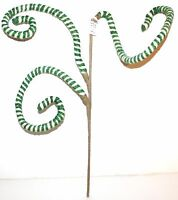 Pier 1 Imports 23 Green White Striped Fabric Sculpture Swirly Pick Ornament