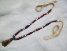 Native American Buffalo Tooth Bone Necklace Silver Hematite Beads Regalia
