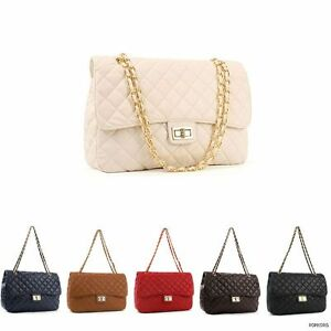 NEW-Women-Large-Classic-Quilted-Gold-Chain-Shoulder-Cross-Body-Bag-Handbag-Purse