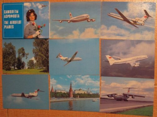 10 Post Card Aeroflot Russian Aviation Air Line Craft Plane Ways Olympic 1980 PC
