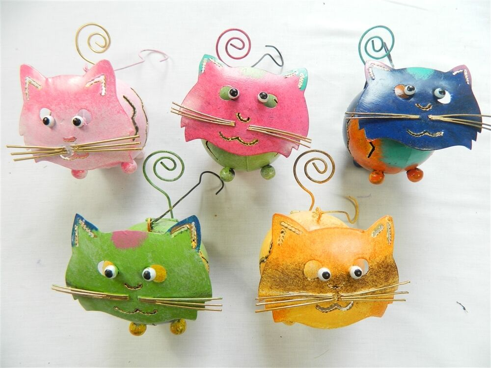 Cat Tea light Candle Holder Metal Hanging Lantern Assorted Colours