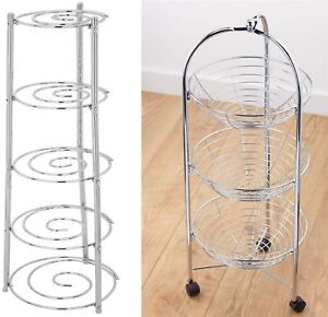 Image Is Loading 5 TIER METAL WIRE CHROME SILVER KITCHEN SAUCEPAN